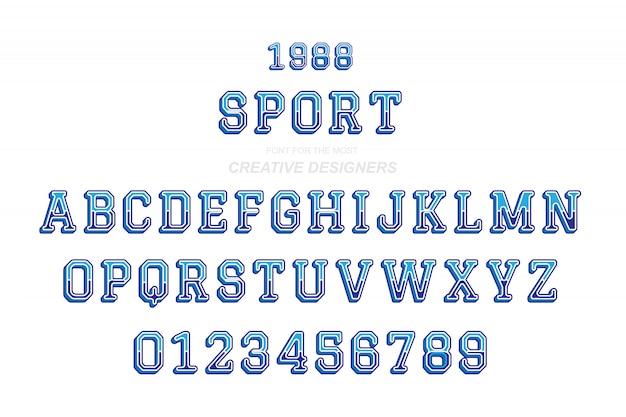 Sport original retro 3d letras em negrito alfabeto fonte e números