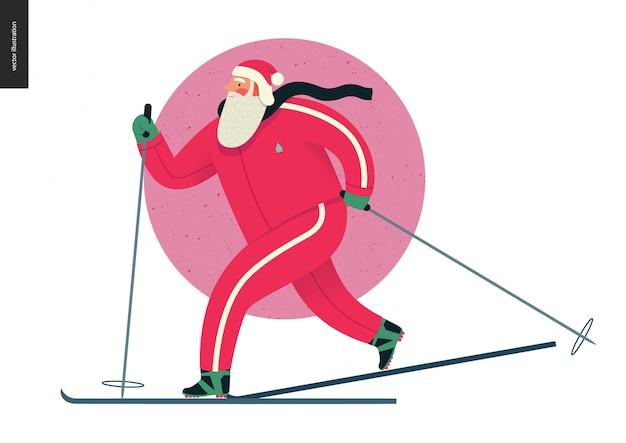 Sporting santa - corrida de esqui no inverno