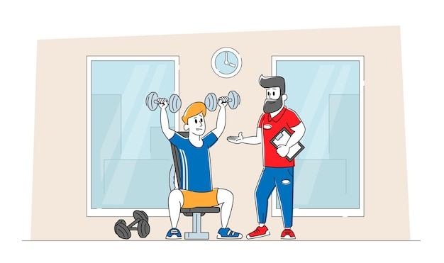 Sportsman powerlifter training in gym with coach help