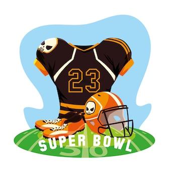 Sportsuit de roupa de jogador de futebol americano, rótulo super bowl
