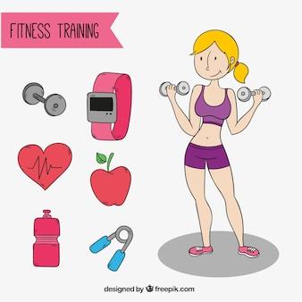 Sportswoman com objetos de treinamento