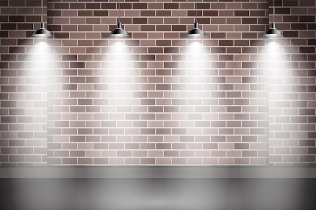 Spot luzes de fundo iluminando a parede