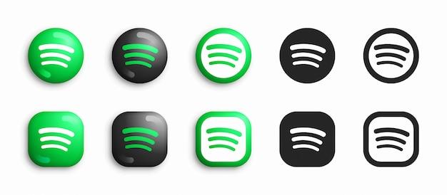 Spotify moderno 3d e conjunto de ícones plana