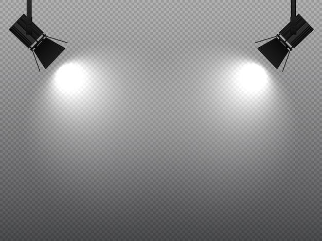 Spotlight brilhando com luz branca nos cantos