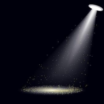 Spotlight com luzes de glitter dourados. ilustração