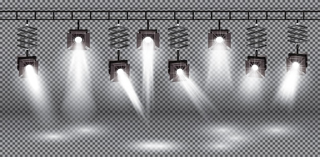 Spotlight definido com efeito de luz diferente na ilustração de fundo transparente.
