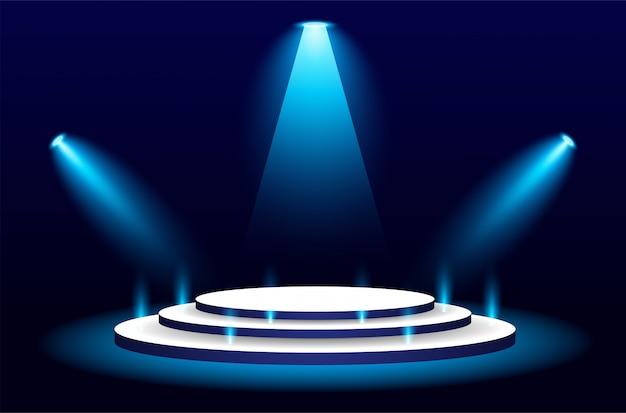 Spotlight e palco de três andares cena iluminada azul