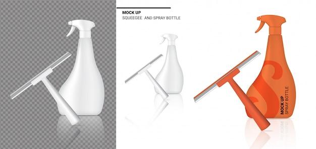 Spray bottle mock up rodo de limpeza realista objeto.