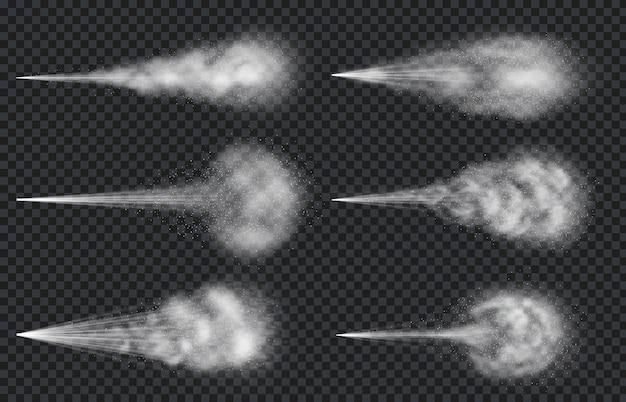 Spray de água do ar. vapor de névoa realista e nuvem de atomizador. desodorante em aerossol ou jato de perfume. espalhe o conjunto de vetores de efeito de partículas. spray de névoa de ar, hidratação úmida, ilustração de respingo arejado