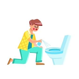 Spray de desinfecção de banheiro usando vetor de jovem. menino pulverizando e limpando banheiro com desinfetar líquido químico, higienizar e cuidar da higiene. personagem guy procedimento higiênico ilustração plana dos desenhos animados