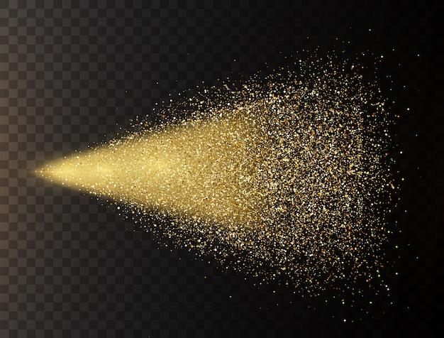 Spray de glitter dourados sobre fundo transparente