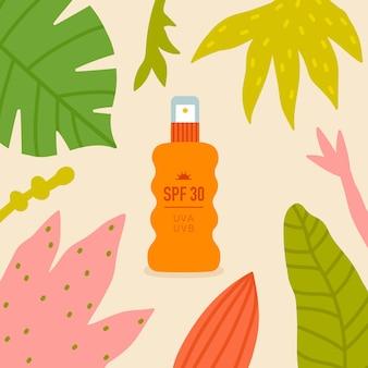 Spray de protetor solar com folhas tropicais ao redor. ilustração plana de proteção solar