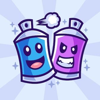 Spray de tinta personagens de desenhos animados