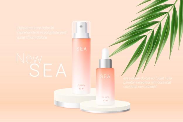 Spray de verão laranja e modelo de anúncios de frascos de soro.