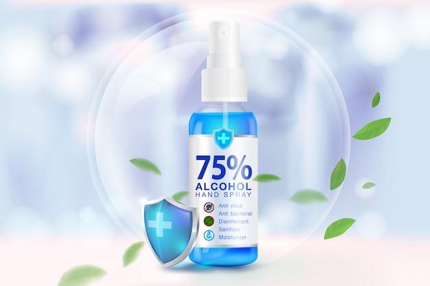 Spray desinfetante para as mãos com componentes de álcool 75%