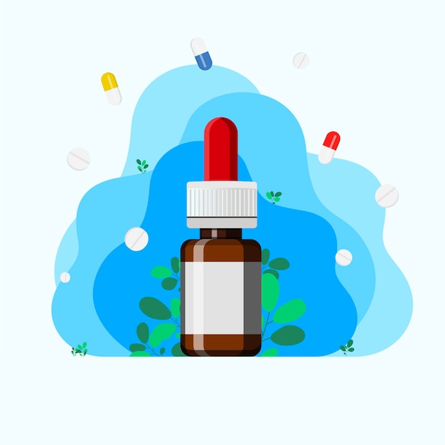Spray nasal com ramos de eucalipto. usar sprays para facilitar a respiração durante alergias e doenças. conceito de medicina e tratamento de rinite e alergias. conceito de otorrinolaringologia.