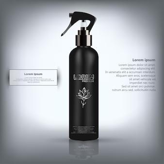 Spray realista brilhante, mate preto e preto com tampa preta