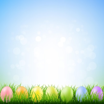 Spring grass with easter eggs with gradient mesh illustration