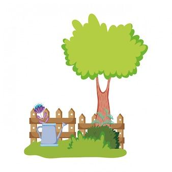 Sprinkler de jardim com planta de casa no parque