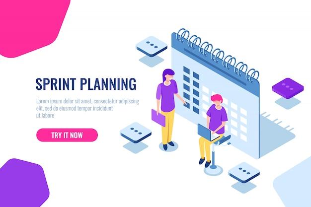 Sprint planejamento isométrico conceito, preenchimento de calendário, lembrete de assuntos importantes