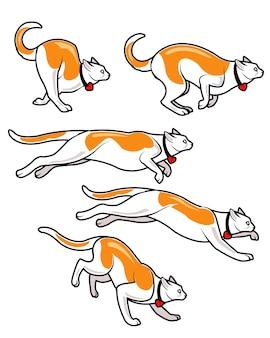 Sprite de animação de desenhos animados de gato de salto