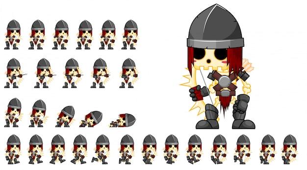 Sprite de jogo de arqueiro de esqueleto