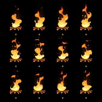 Sprites animados da chama da fogueira dos desenhos animados. ilustração de animação de fogo, queimando fogueira