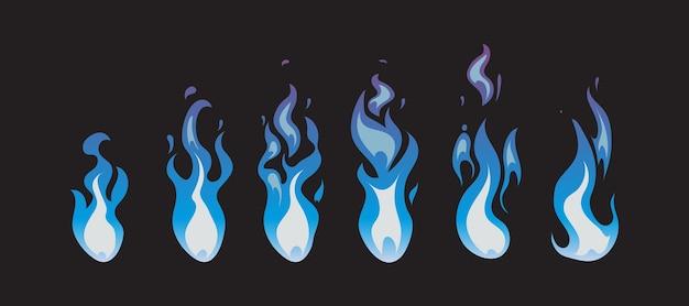 Sprites de animação de vetor de fogo azul