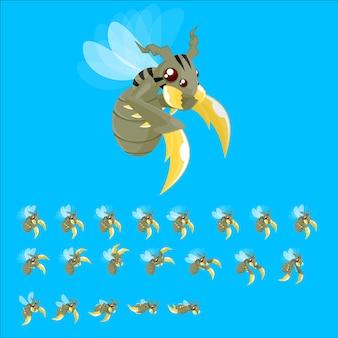 Sprites de jogo de abelha de monstro