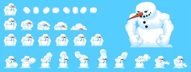 Sprites de jogo de boneco de neve