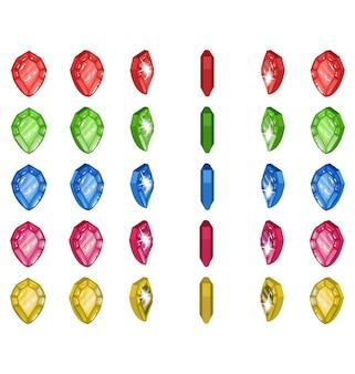Sprites de joias giratórias com 6 cores, ilustração de uma joia giratória