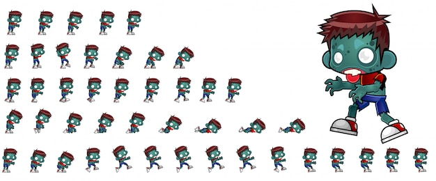 Sprites do jogo do menino do zombi