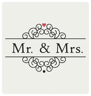 Sr. e sra. sinal de casamento design de vetor tipográfico