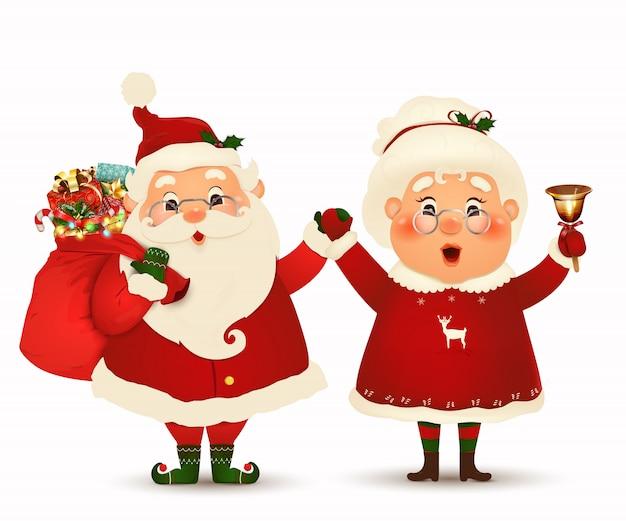 Sra. claus juntos. personagem de desenho animado do feliz papai noel e sua esposa isolada. família de natal comemorar as férias de inverno. lindo papai noel com a sra. claus agitando as mãos e saudação.