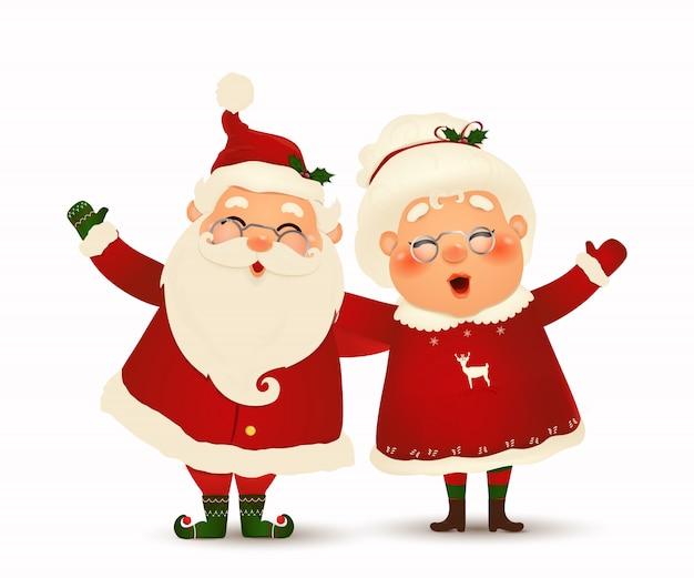Sra. claus juntos. personagem de desenho animado do feliz papai noel e sua esposa isolada. família de natal comemorar férias de inverno. lindo papai noel com a sra. claus agitando as mãos e saudação.