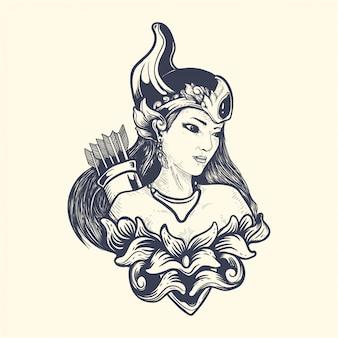 Srikandi da ilustração de obras de arte de mitologia javanesa
