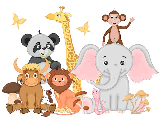 Sset de animais exóticos engraçados