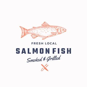 Ssmoked e grelhado salmão abstrato sinal, símbolo ou modelo de logotipo. .