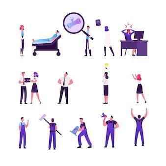 St de homens e mulheres, médicos e personagens de pacientes