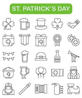 St. ícones do dia de patrick definidos no estilo de estrutura de tópicos