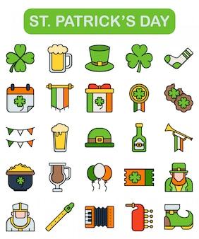 St. ícones do dia de patrick definidos no estilo linear