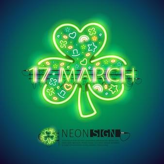 St patrick 17 de março sinais de néon
