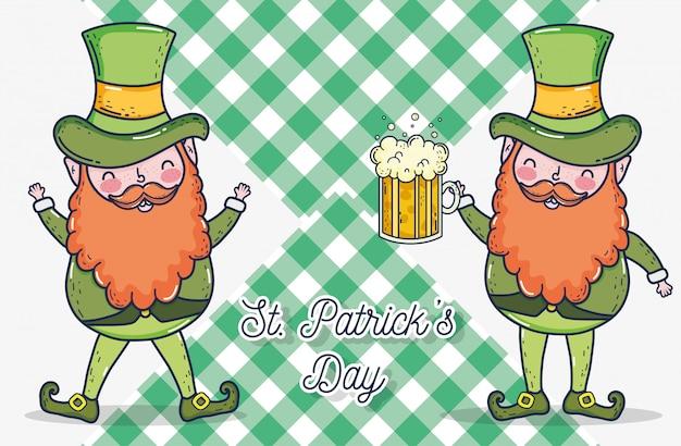 St patrick, homem, com, cerveja, vidro, celebração