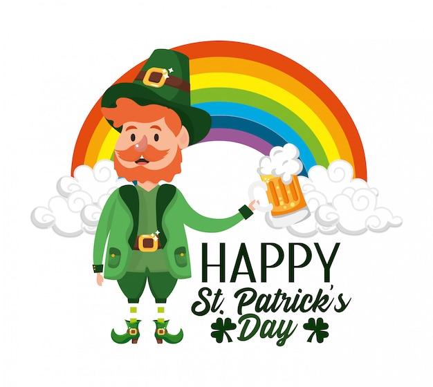 St patrick homem com copo de cerveja e arco-íris
