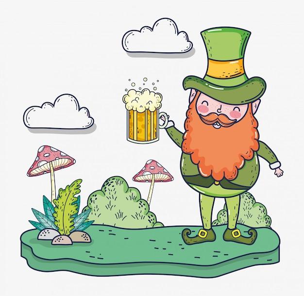 St patrick homem com copo de cerveja