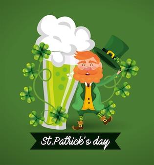 St patrick homem com plantas de cerveja e trevos