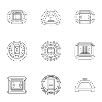 Stadia icons set, outline style