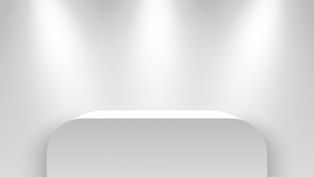 Stand de exposição branco, iluminado por holofotes. pedestal. ilustração.