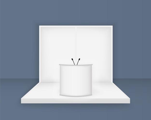 Stand de exposição branco, modelo de cabine 3d em branco com iluminação