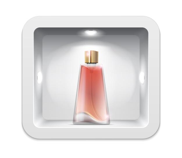 Stand de exposição de cosméticos. frasco de perfume realista.